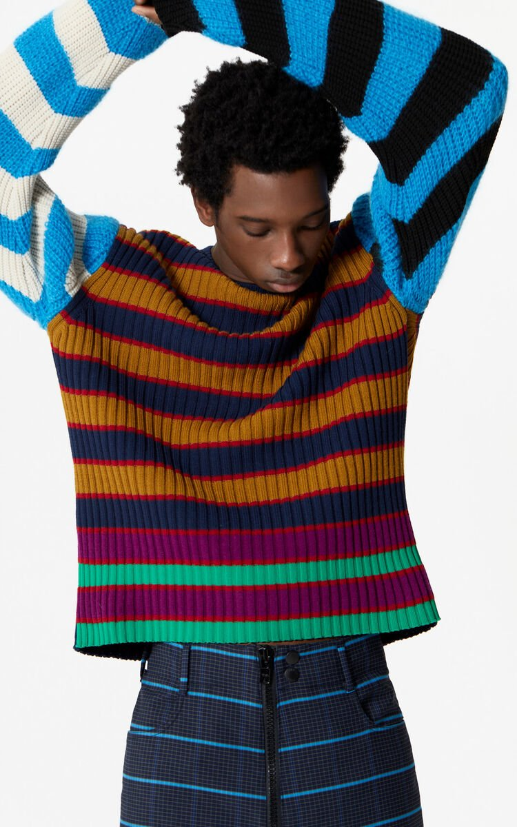 MULTICOLOR Colorblock striped long-sleeved jumper は メンズ KENZOのために