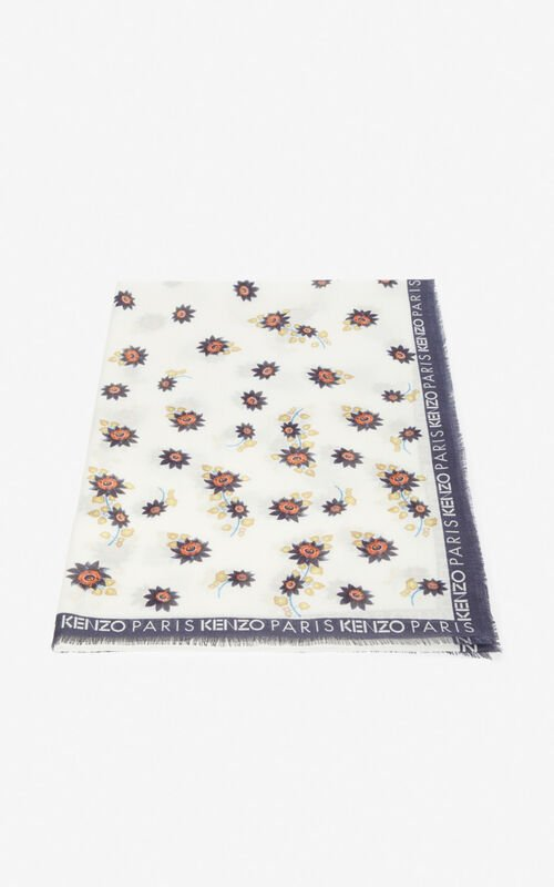 WHITE 'Passion Flowers' scarf for unisex KENZO
