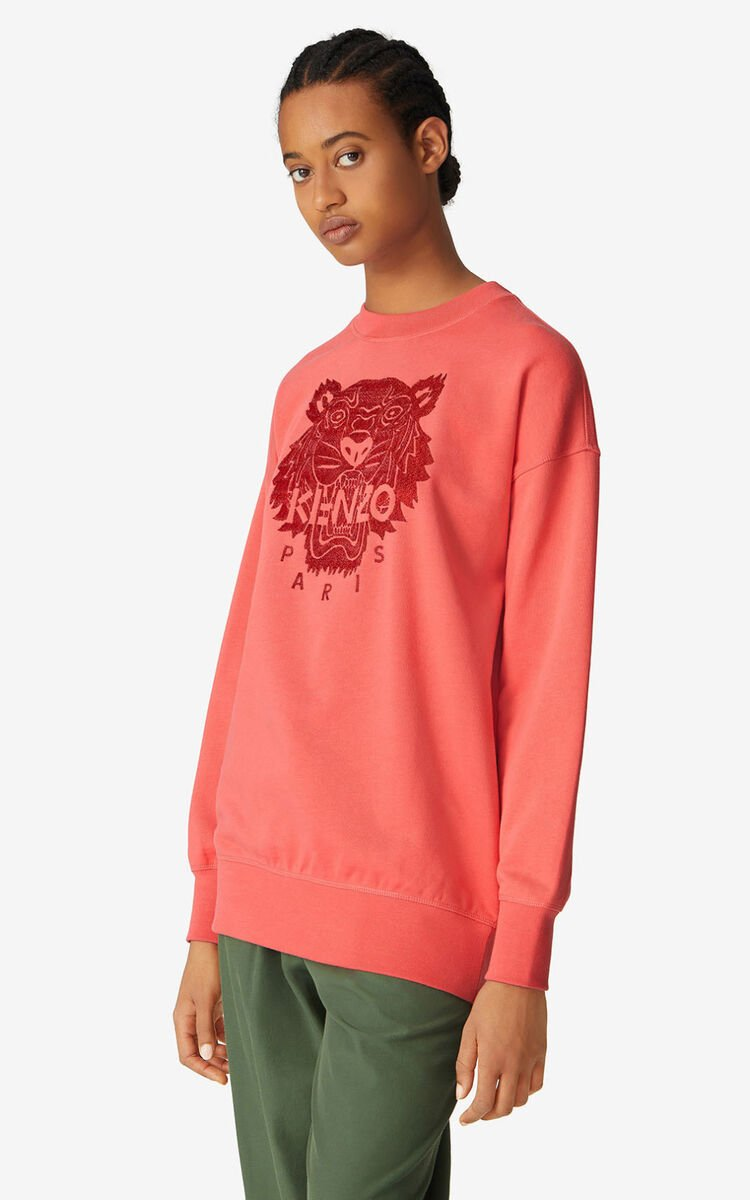 RED ORANGE Oversized Tiger sweatshirt for women KENZO