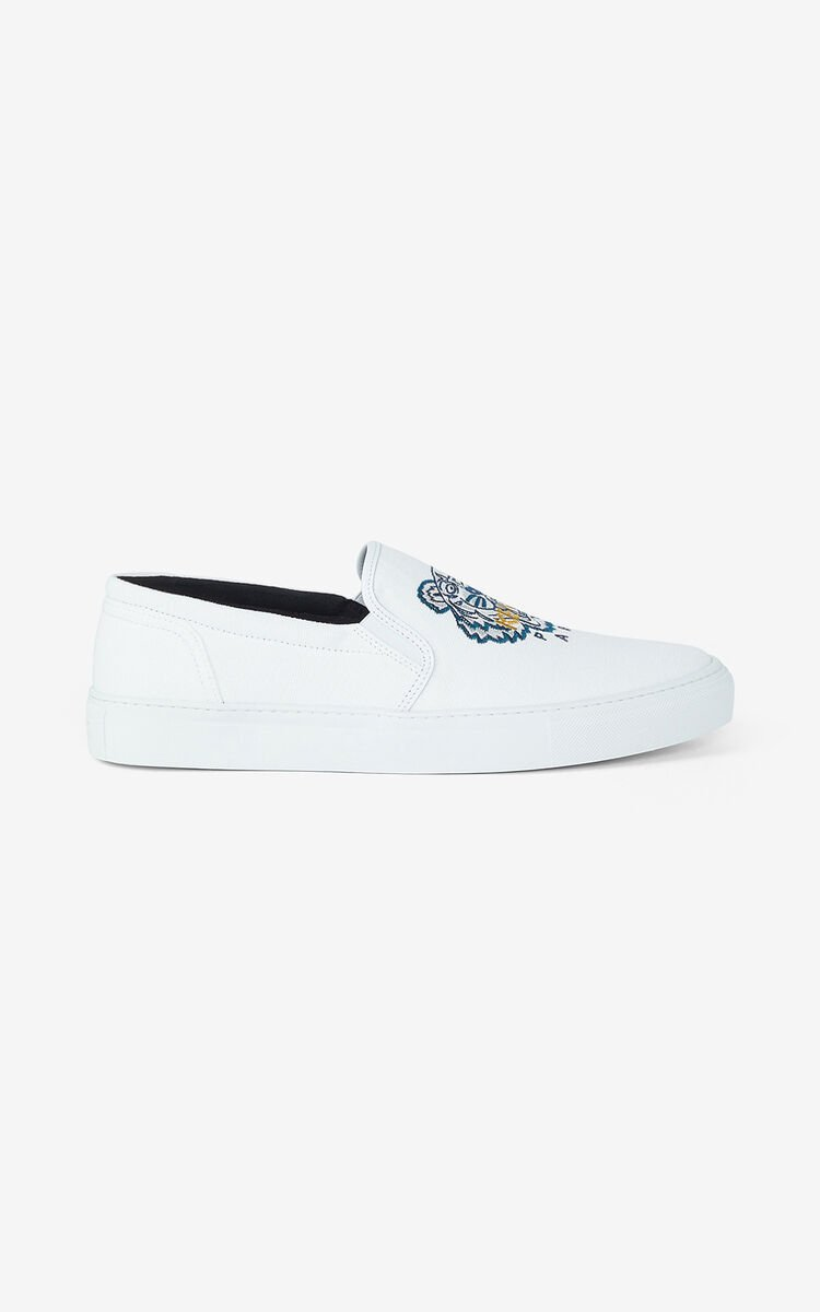 WHITE K-Skate Tiger lace-free trainers for unisex KENZO
