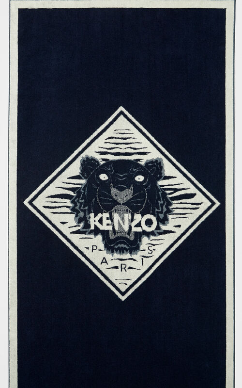 NAVY BLUE 'Diamond Tiger' beach towel for unisex KENZO