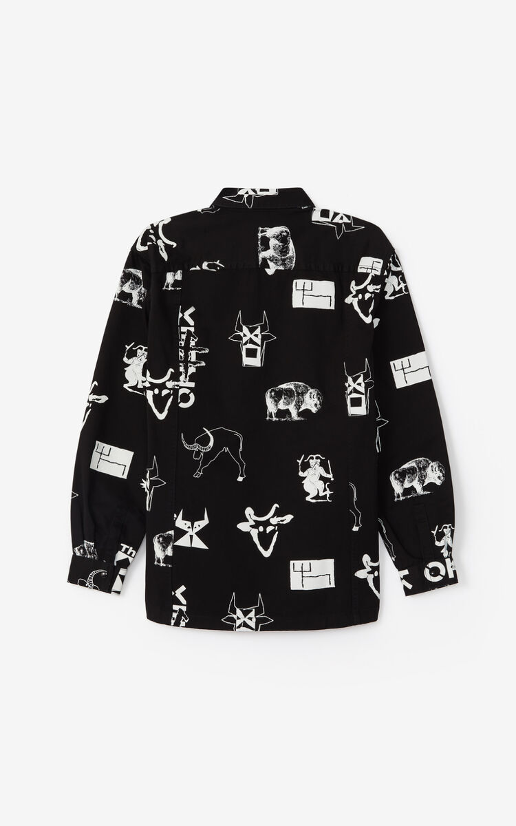 BLACK 'Sign & Symbol' shirt jacket for men KENZO