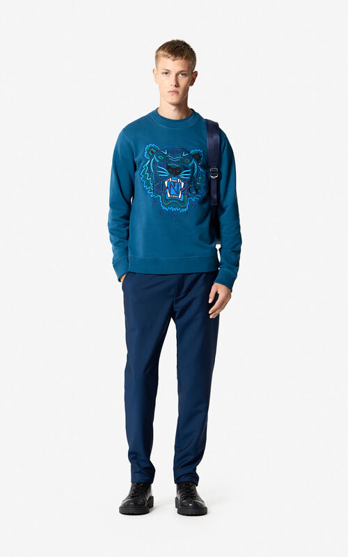 DUCK BLUE Tiger sweatshirt 'Holiday Capsule' for men KENZO