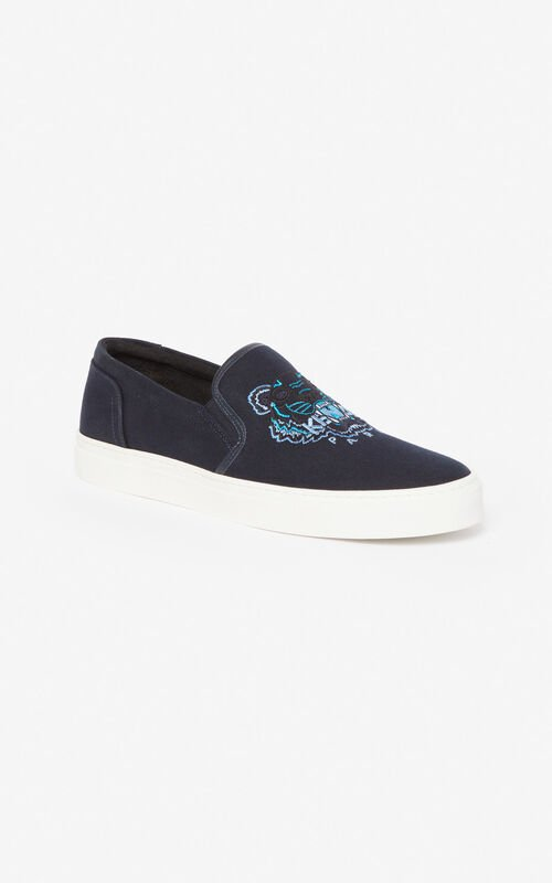 NAVY BLUE Tiger slip-ons  'Holiday Capsule' for men KENZO