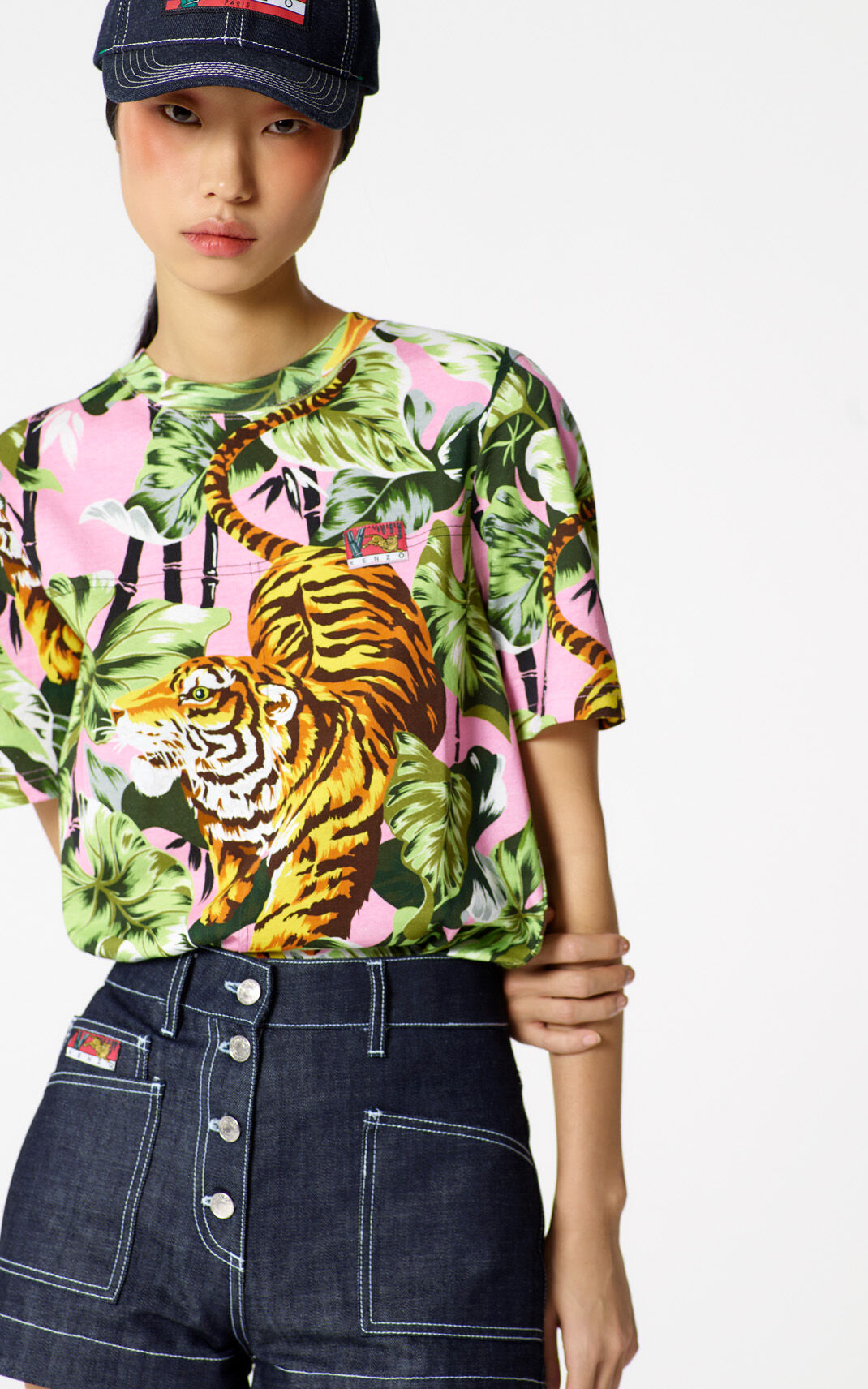 FLAMINGO PINK 'Bamboo Tiger' t-shirt for women KENZO