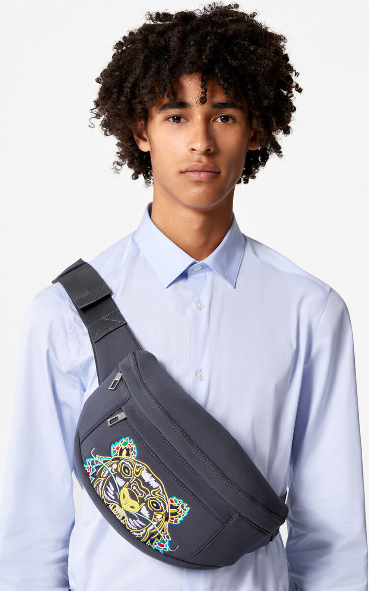 ANTHRACITE Neoprene 'Dragon Tiger' bumbag for unisex KENZO