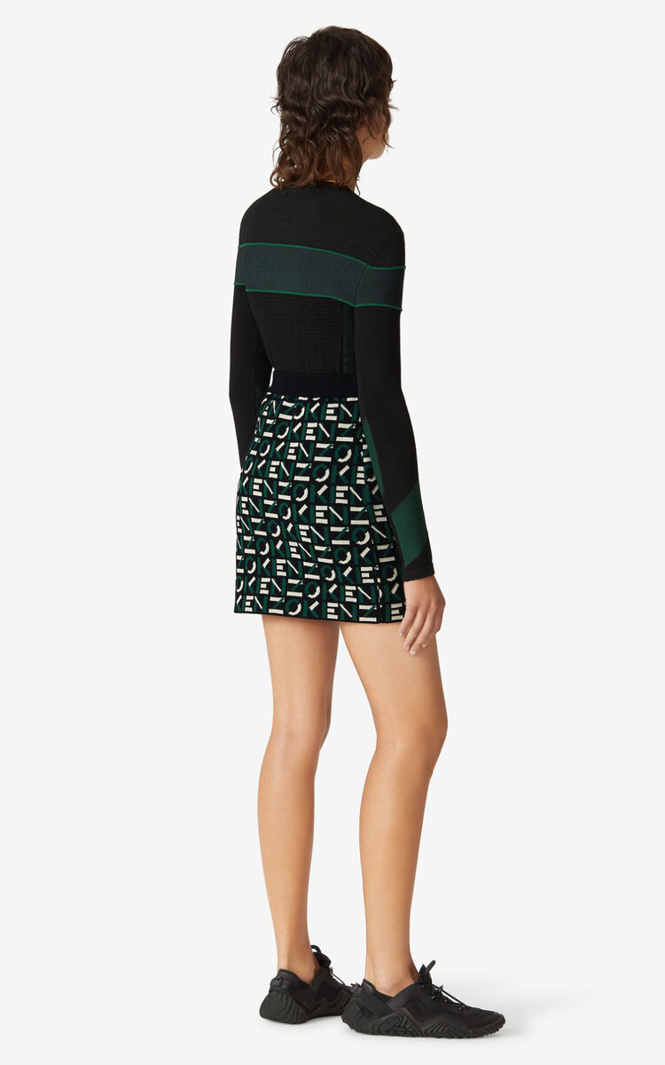 GREEN KENZO Sport monogram jacquard miniskirt for women