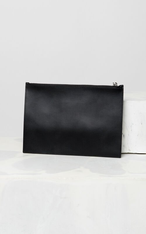 BLACK KENZO colorblock clutch for unisex