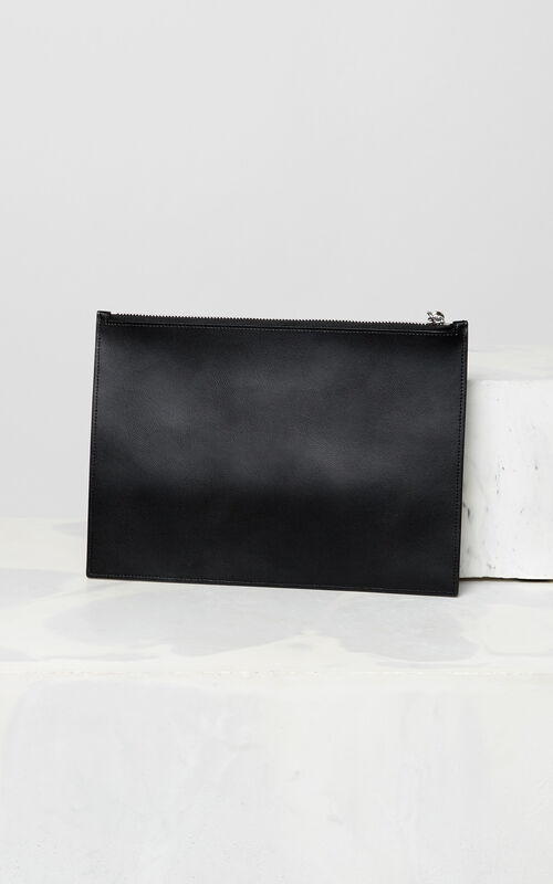 BLACK A4 KENZO Colorblock leather clutch for men