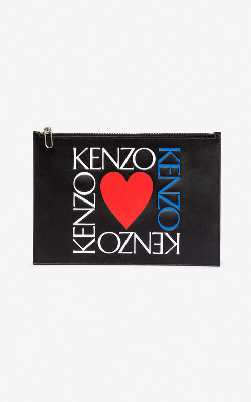 BLACK 'I ❤ KENZO Capsule' 'Square Logo' A4 leather clutch for unisex