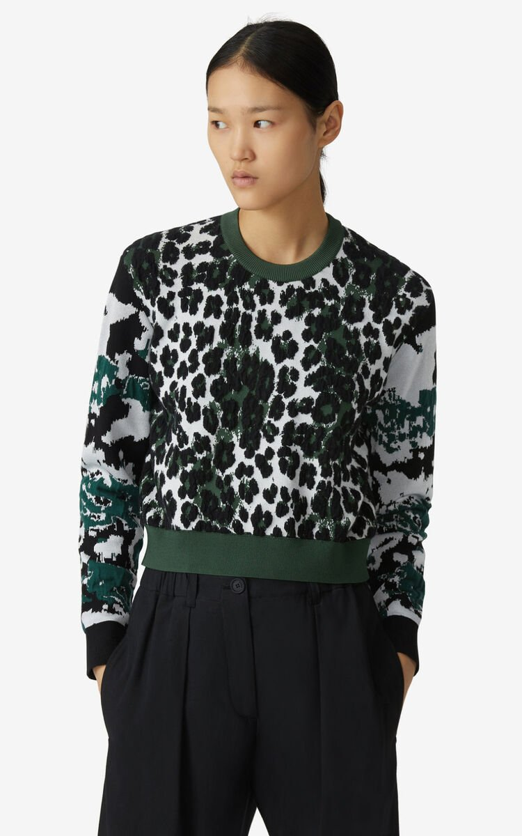 BOTTLE GREEN 'Leopard' jacquard jumper for women KENZO