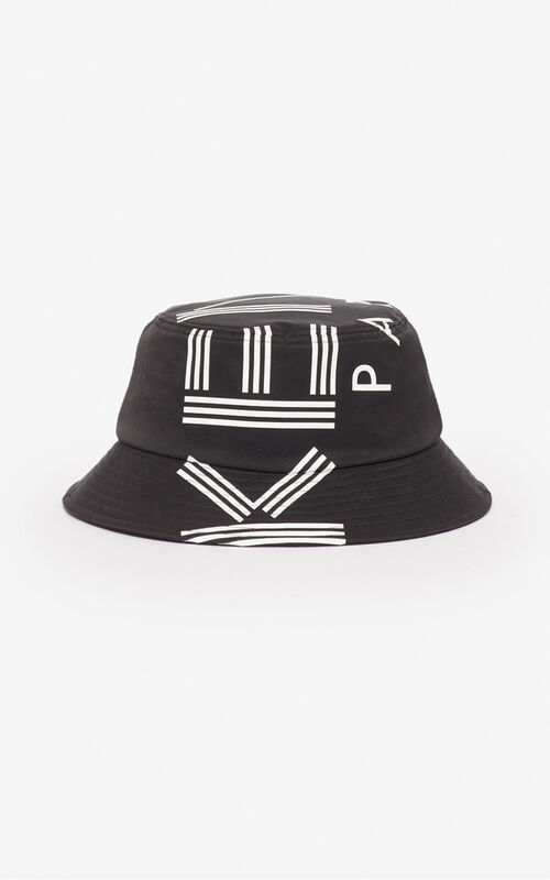 BLACK KENZO Logo bucket hat for unisex