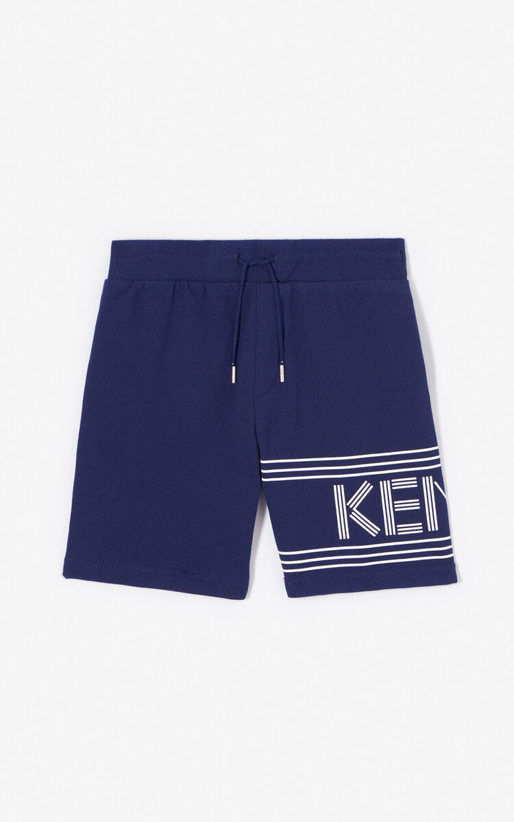 NAVY BLUE KENZO logo shorts for women