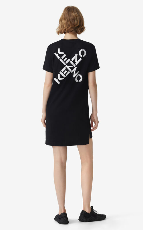 BLACK KENZO Sport 'Little X' t-shirt dress for women