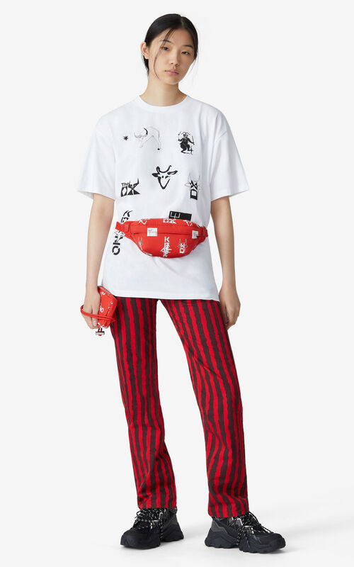 WHITE 'Sign & Symbol' oversize T-shirt for women KENZO