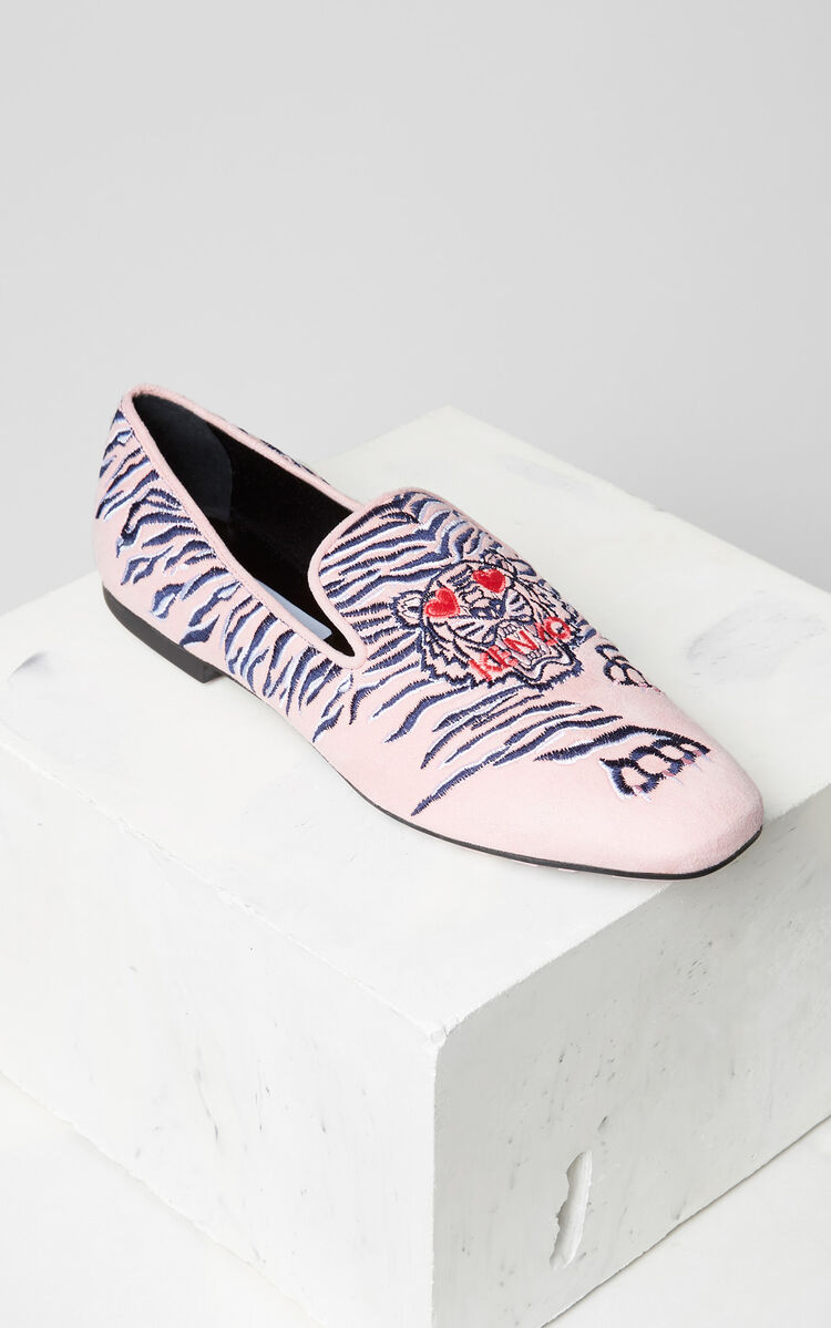 FLAMINGO PINK Custer 'Crawling Tiger' mocassins for women KENZO