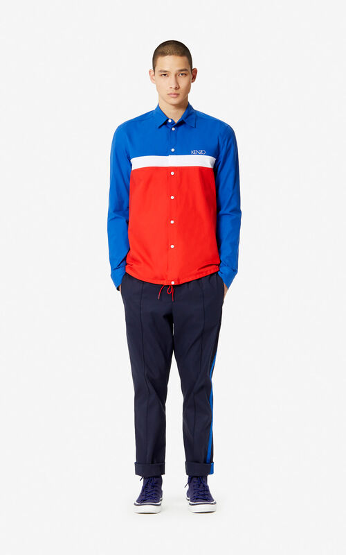 MEDIUM RED Colorblock shirt for men KENZO