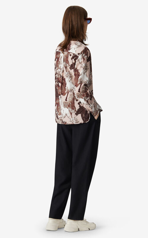FADED PINK 'Chevaux KENZO' buttoned blouse for women