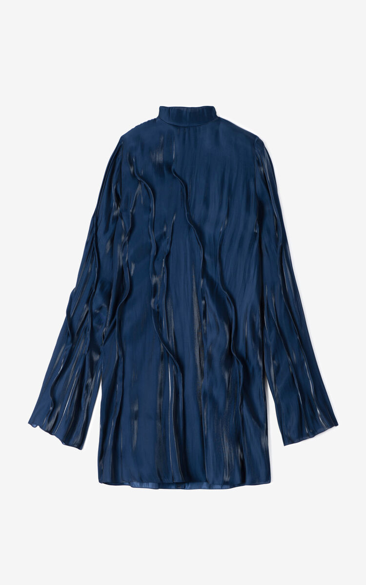 MIDNIGHT BLUE 'Wave' flowing dress  for women KENZO