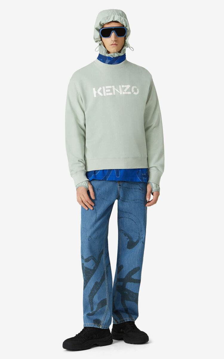 SAGE GREEN KENZO Logo sweatshirt for men