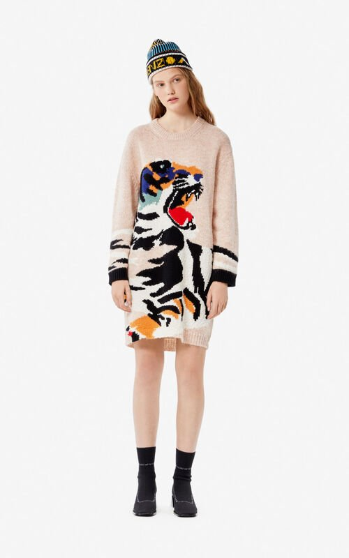 PALE CAMEL 'Tiger Head' sweater dress for women KENZO