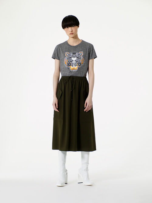 DARK KHAKI Soft crepe skirt for women KENZO