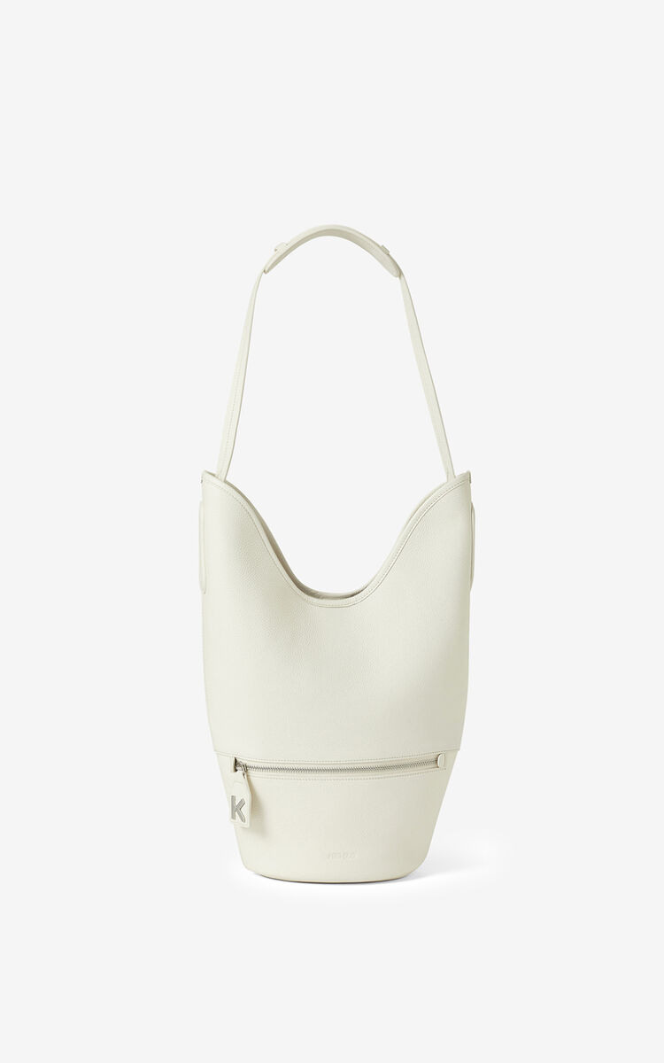 ECRU KENZO Onda leather bucket bag for women