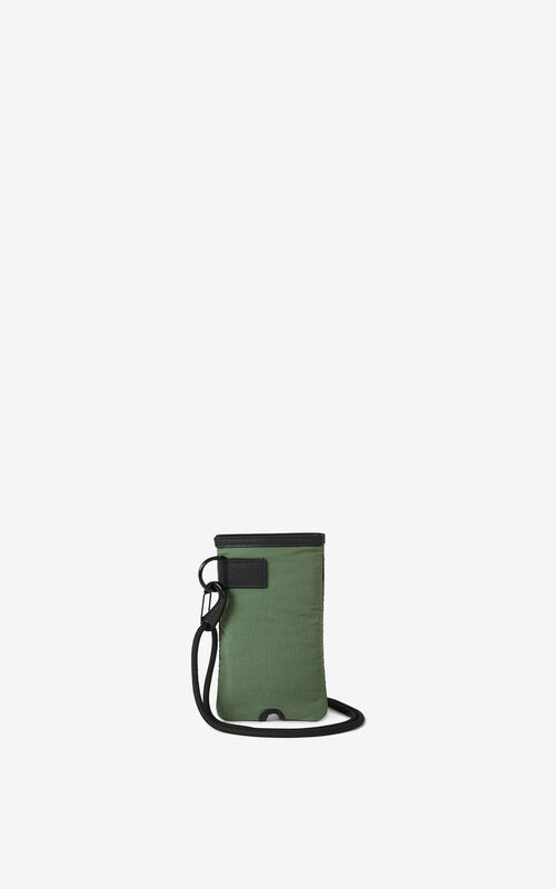 DARK KHAKI K-Tiger crossbody phone and headphones holder for unisex KENZO
