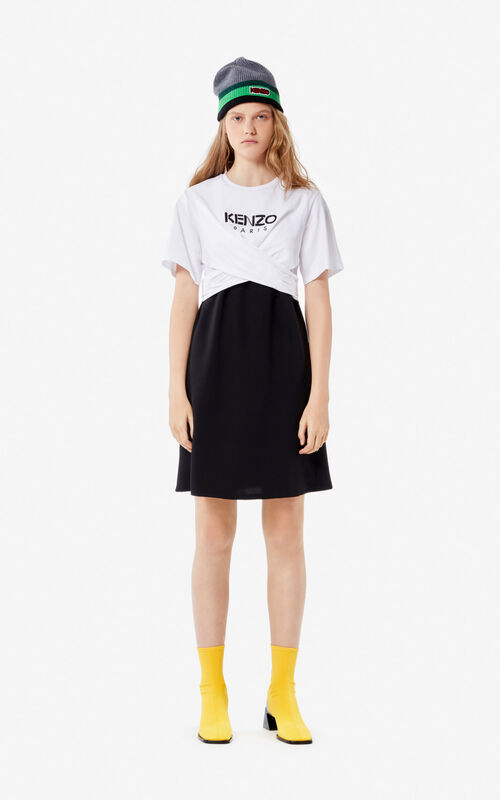 WHITE KENZO Paris draped dress  for women