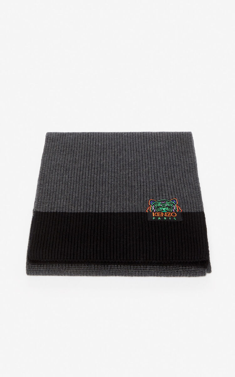 ANTHRACITE 'Holiday Capsule' two-tone Tiger scarf for women KENZO