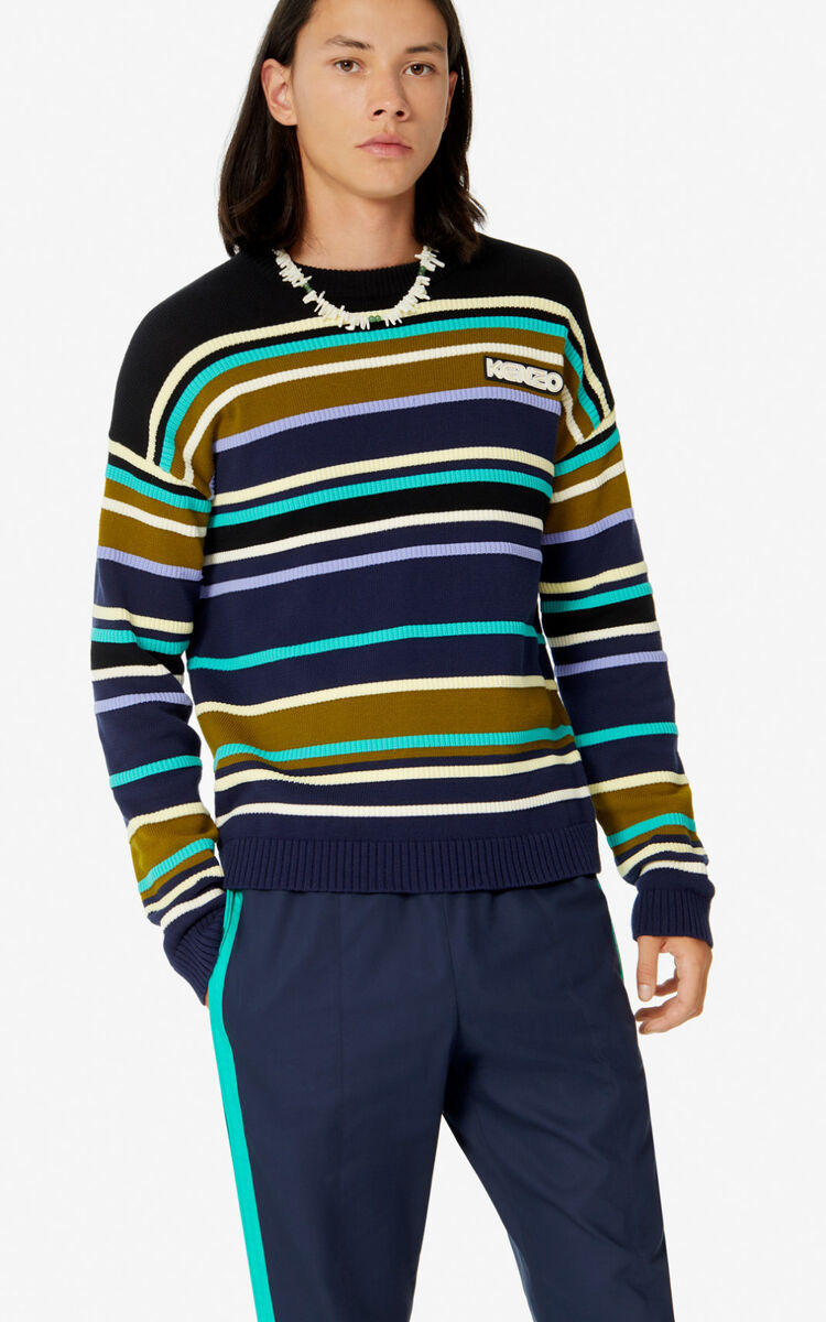 BLACK Striped colour-block jumper for men KENZO