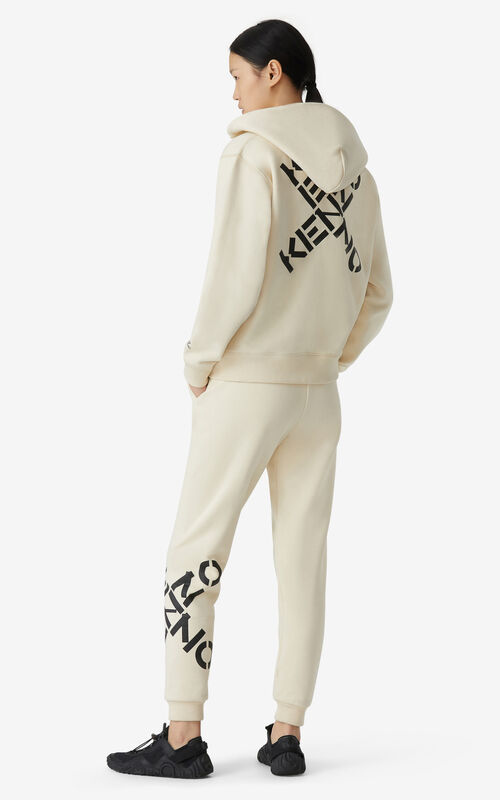 CREAM KENZO Sport 'Big X' zipped sweatshirt for women