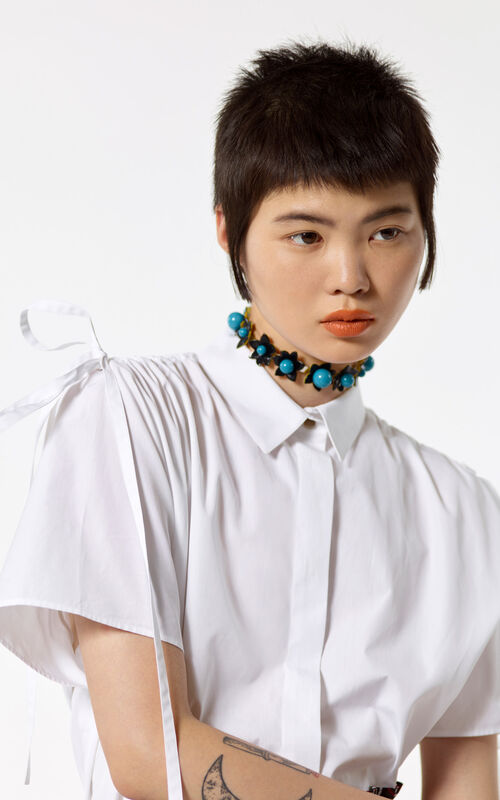 WHITE Blouse with pleated shoulders for women KENZO