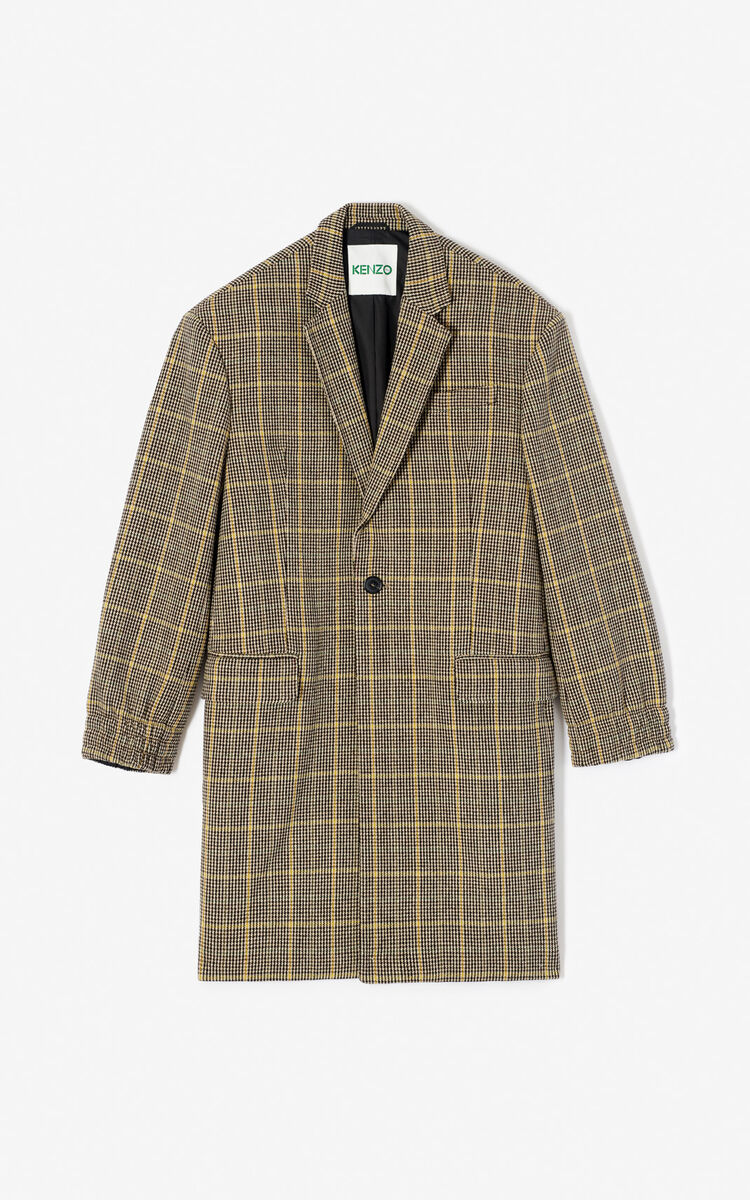 PALE CAMEL Checked coat for men KENZO