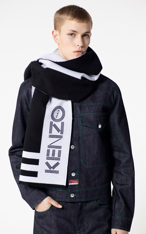 BLACK KENZO Logo wool scarf for men
