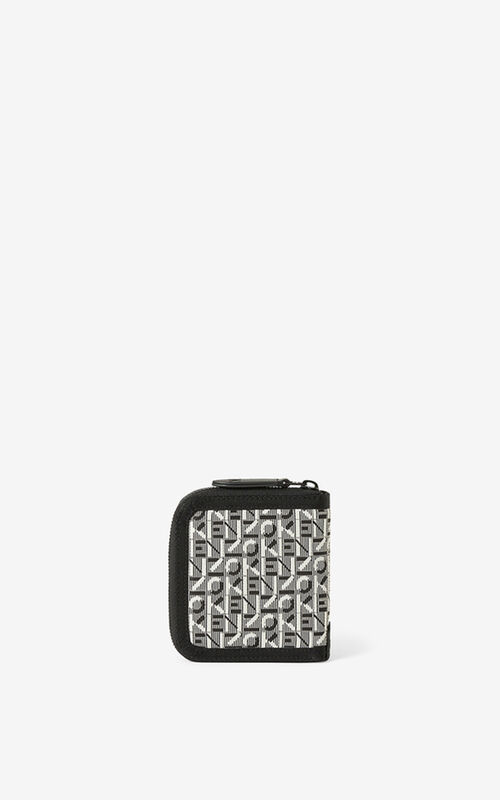 MISTY GREY Courier small zipped jacquard wallet for unisex KENZO