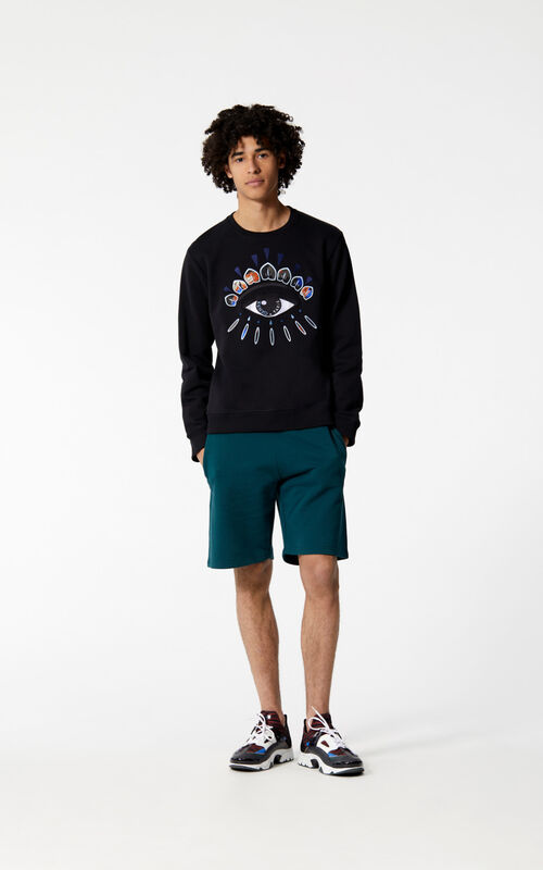 BLACK 'Indonesian Flower' Eye Sweatshirt for men KENZO