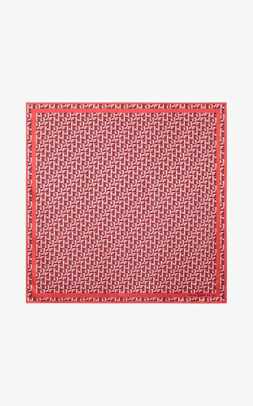 RED ORANGE KENZO monogrammed silk square for unisex