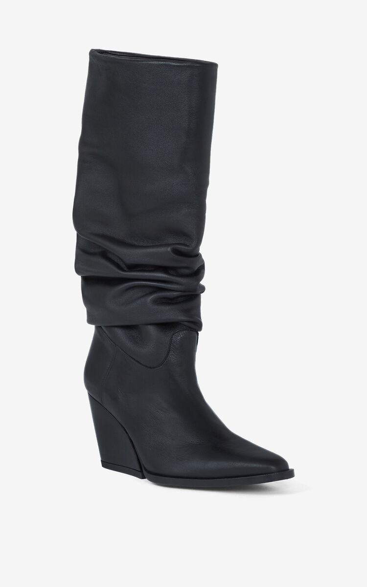 BLACK Billow high-heeled leather boots for unisex KENZO