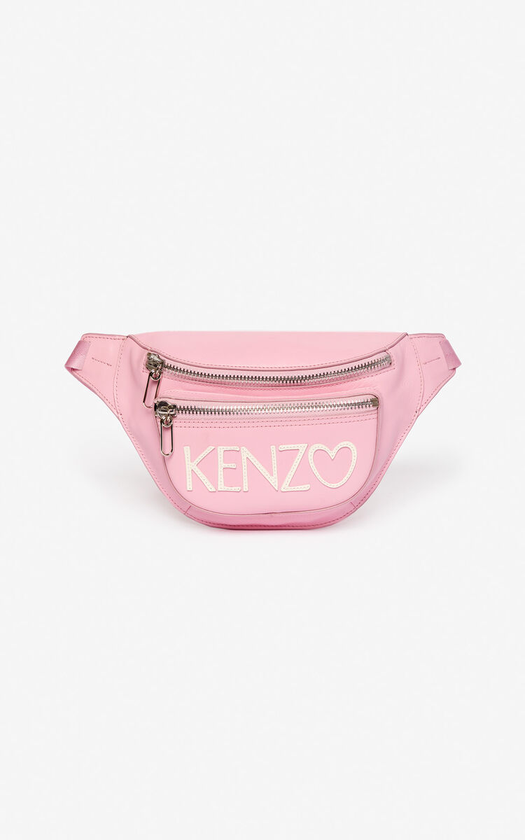 PASTEL PINK 'I ❤ KENZO Capsule' KENZO logo leather bumbag for unisex