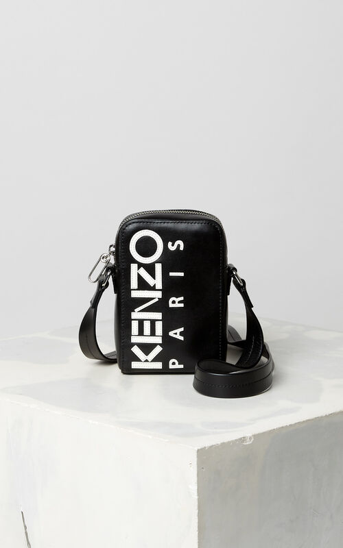 BLACK Small cross-body KENZO Logo bag for unisex