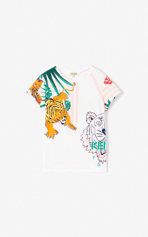 WHITE  Hawai  pattern T-shirt for women KENZO ... 9277e55e15