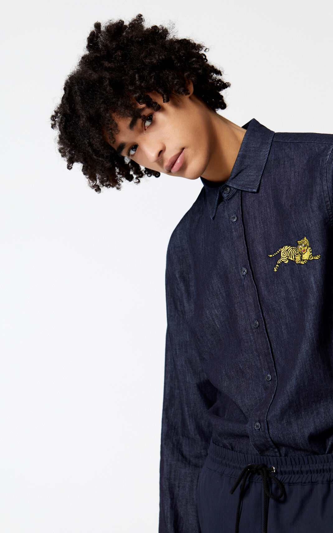 NAVY BLUE 'Jumping Tiger' denim shirt for men KENZO