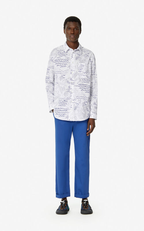 WHITE 'Waves Mermaids' casual overshirt for men KENZO