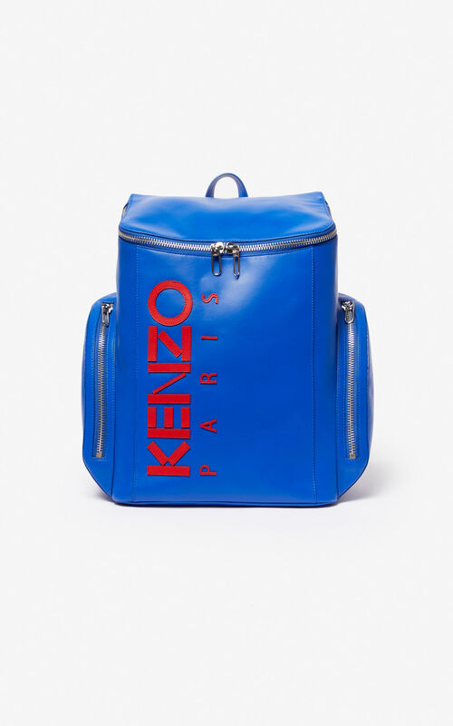 COBALT KENZO Logo leather Backpack for unisex