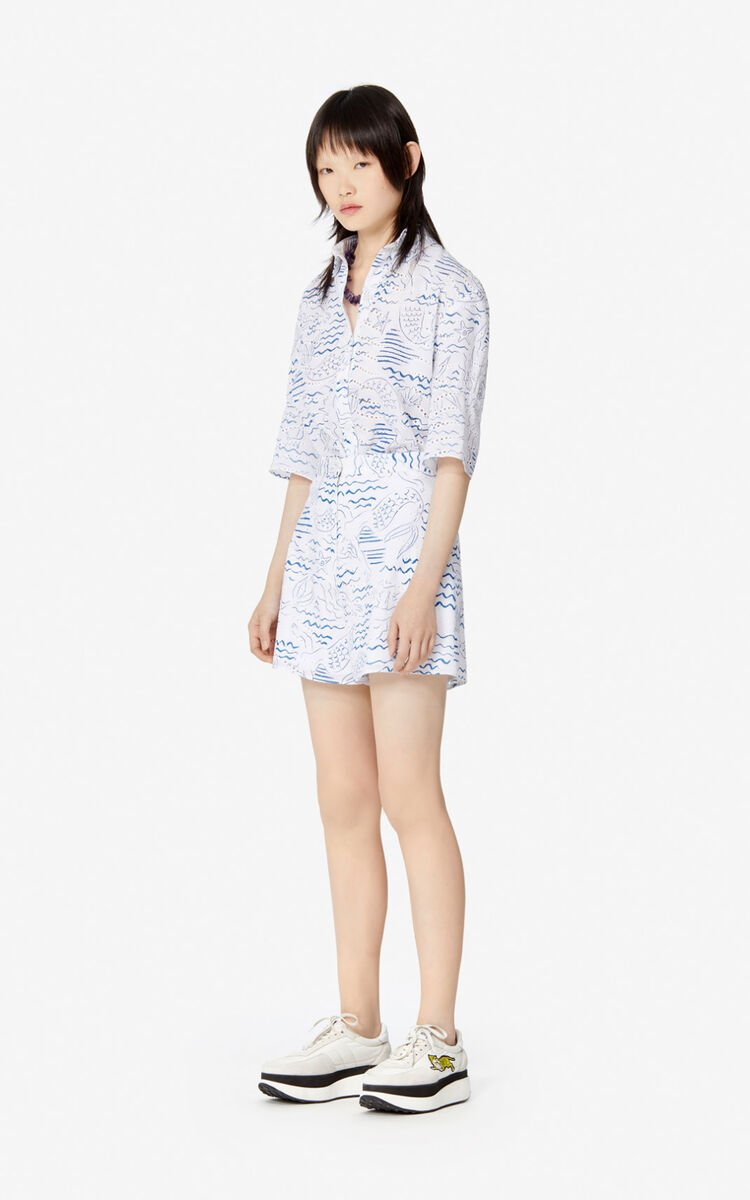 DUCK BLUE 'Wave Mermaids' shorts for women KENZO