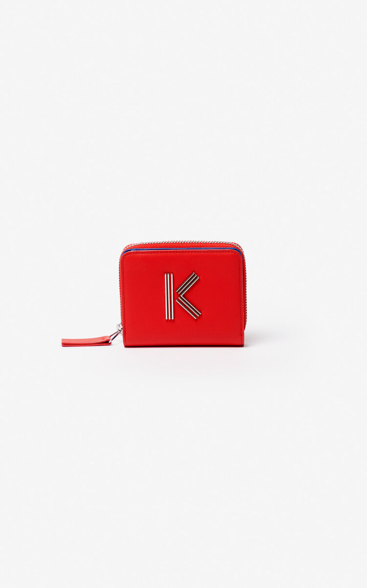 MEDIUM RED Small two-tone K-Bag leather wallet for women KENZO