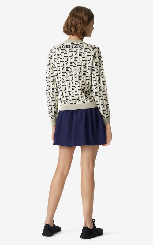 DOVE GREY KENZO Sport monogram jacquard jumper for women