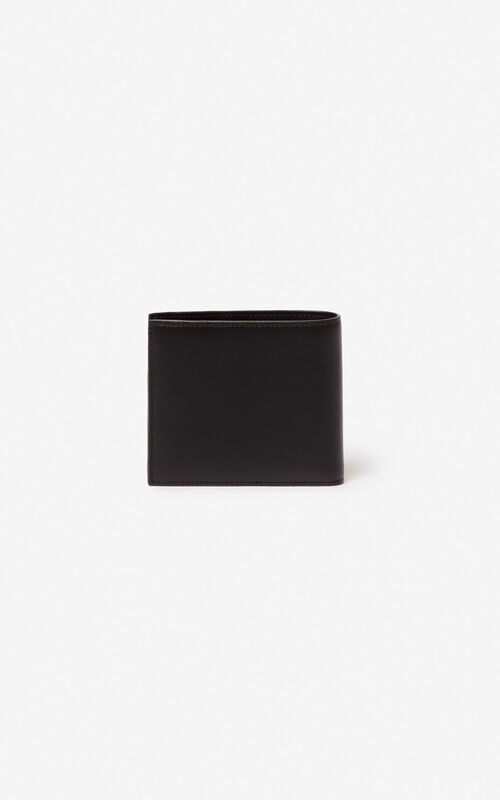 BLACK 'Square Logo' leather wallet for unisex KENZO